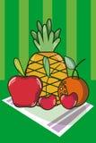 Frutos na toalha de mesa ilustração stock