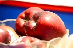 Frutos sazonais: algumas maçãs vermelhas imagem de stock