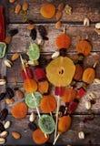 Frutos secados coloridos para o feriado judaico da Turquia Bishvat Imagens de Stock