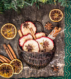 Frutos secos del invierno con los palillos de canela y la cinta del cordón Imagen de archivo
