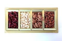 Frutos secos e caixa de presente das porcas Imagem de Stock