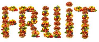 Frutos sob a forma do fruto da palavra ilustração stock
