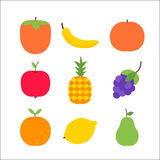 Frutos sobre o branco Fotografia de Stock Royalty Free