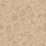 Frutos tirados garatuja do teste padrão Fotografia de Stock