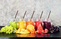 Frutos tropicais do batido fresco dos sucos da cor multi Imagens de Stock