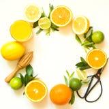 Frutos tropicais para fazer o suco do limão, laranja, cal pelo juicer de madeira no fundo branco Vista superior Copie o espaço Imagem de Stock Royalty Free