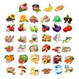 Frutos, vegetais, carne, peixes e produtos láteos Imagem de Stock Royalty Free