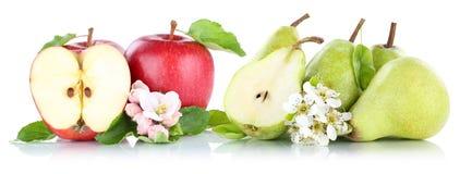 Frutos verdes vermelhos das peras das maçãs de Apple e da pera isolados no branco Imagens de Stock Royalty Free
