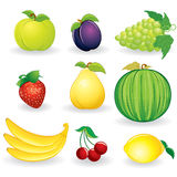 Fruts and Berries. Illustration of Cartoon Fruits Set Stock Photography