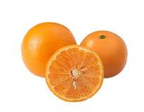 Frutta arancio isolata sul percorso di ritaglio bianco del fondo Fotografia Stock Libera da Diritti