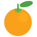 Frutta arancio succosa del grafico di vettore del fumetto isolata in parte posteriore di bianco Fotografia Stock Libera da Diritti