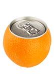 Frutta arancione con la latta Fotografia Stock Libera da Diritti