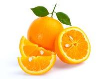 Frutta arancione isolata su priorità bassa bianca Immagini Stock Libere da Diritti