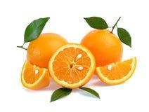 Frutta arancione isolata su priorità bassa bianca Fotografie Stock Libere da Diritti