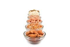 Frutta asciutta Mixed in ciotola di vetro Immagine Stock Libera da Diritti