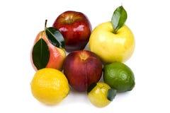 Frutta colorata su priorità bassa bianca immagini stock libere da diritti