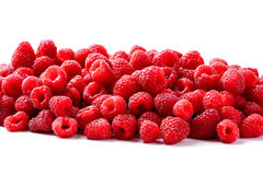 Frutta dei lamponi isolata su fondo bianco Fotografia Stock