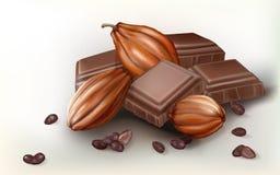Frutta del cacao e del cioccolato Immagini Stock Libere da Diritti