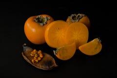 Frutta del cachi con le fette Immagini Stock Libere da Diritti