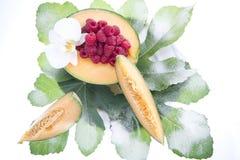 Frutta del lampone e del melone Fotografia Stock