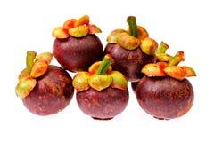 Frutta del mangostano della Tailandia su fondo bianco Immagine Stock