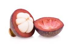 Frutta del mangostano isolata su bianco Immagini Stock Libere da Diritti