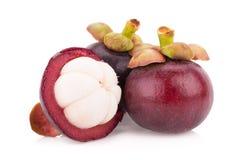 Frutta del mangostano isolata su bianco Fotografie Stock