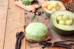 Frutta del melone del cantalupo succosa e dolce del melone Immagine Stock