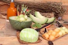 Frutta del melone del cantalupo succosa e dolce del melone Fotografia Stock