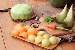 Frutta del melone del cantalupo succosa e dolce del melone Fotografie Stock Libere da Diritti