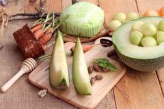Frutta del melone del cantalupo succosa e dolce del melone Immagini Stock