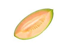 Frutta del melone delle fette isolata su fondo bianco Fotografie Stock