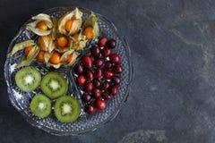 Frutta del Physalis - alchechengi con i mirtilli rossi ed il kiwi immagine stock