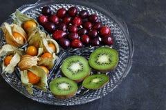 Frutta del Physalis - alchechengi con i mirtilli rossi ed il kiwi fotografia stock libera da diritti