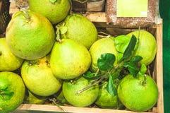 Frutta del pomelo in scatola di legno alla via del mercato Fotografia Stock Libera da Diritti