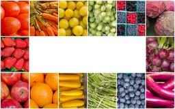 Frutta dell'arcobaleno e collage delle verdure Immagine Stock Libera da Diritti