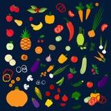 Frutta dell'azienda agricola ed icone sane fresche delle verdure Fotografia Stock