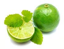 Frutta della calce con melissa isolata su bianco fotografie stock