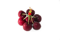 Frutta della ciliegia con i fogli fotografia stock