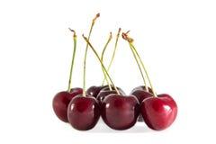 Frutta della ciliegia con i fogli Immagine Stock Libera da Diritti