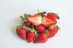 Frutta della fragola su fondo bianco Fotografia Stock