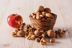 Frutta di autunno in cestino Fotografie Stock Libere da Diritti