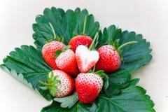 Frutta di bacche della fragola con le foglie verdi Fotografia Stock Libera da Diritti