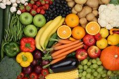 Frutta di cibo sano e fondo vegetariani delle verdure Fotografia Stock Libera da Diritti