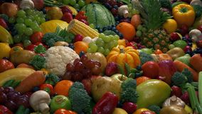 Frutta di dieta sana e mucchio delle verdure archivi video