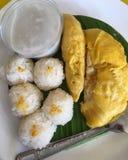 Frutta di re con riso appiccicoso e latte di cocco Fotografie Stock