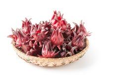 Frutta di rosella in canestro di bambù isolato fotografia stock