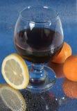 Frutta di vetro di vino Fotografia Stock