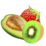 Frutta differente isolata su priorità bassa bianca Fotografia Stock