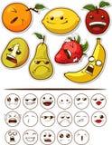 Frutta divertente con l'espressione Fotografie Stock Libere da Diritti